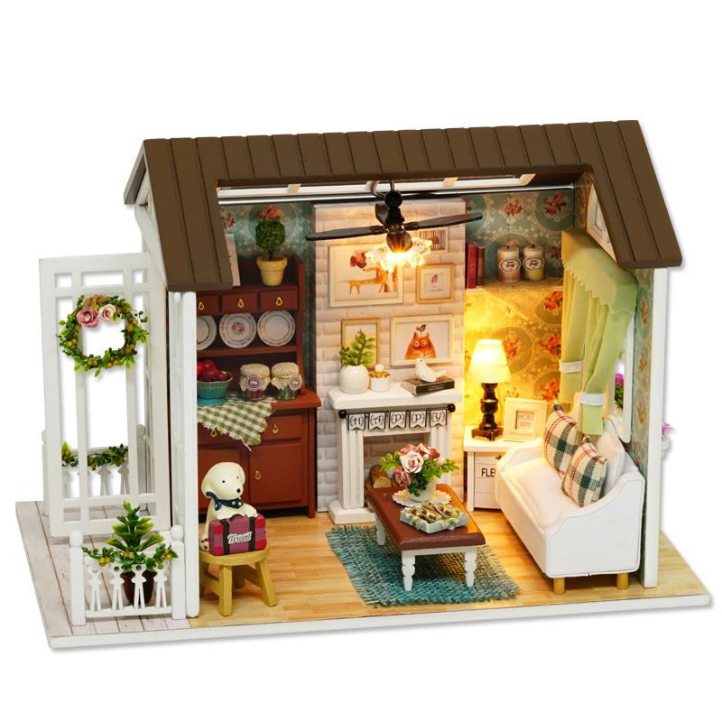 cute room doll house miniature diy dollhouse with furnitures wooden american retro style handmade toy happy times z008 cheap furniture sets diy dollhouse furniture s98 dollhouse