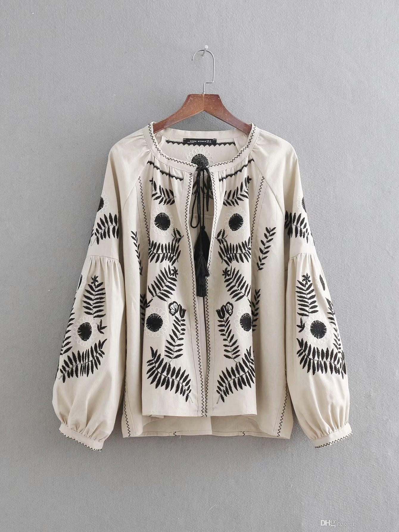 EURO STYLE WOMEN CLOTHES FASHION WOMEN'S ROUND COLLAR LONG SLEEVE COTTON BLOUSE LADY ELEGANT EMBROIDERY TOP BLOUSE & SHIRTS