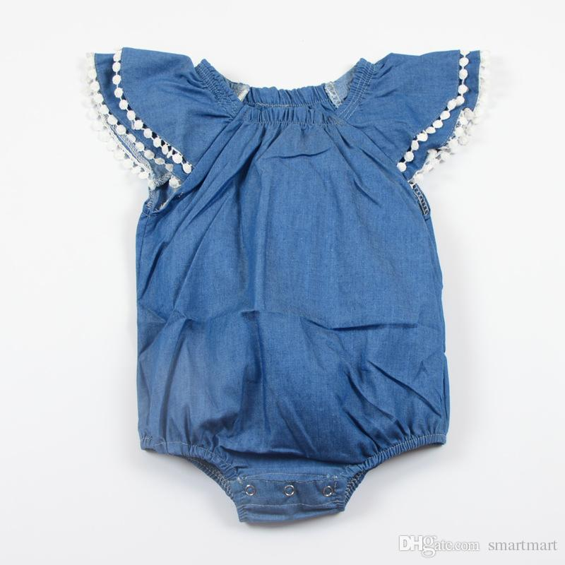 4a69ea31107b 2019 Everweekend Ins Fashion Baby Girls Fly Sleeve Denim Rompers With Lace  Ruffles Vintage Blue Color Summer Toddler Kids Clothing From Smartmart