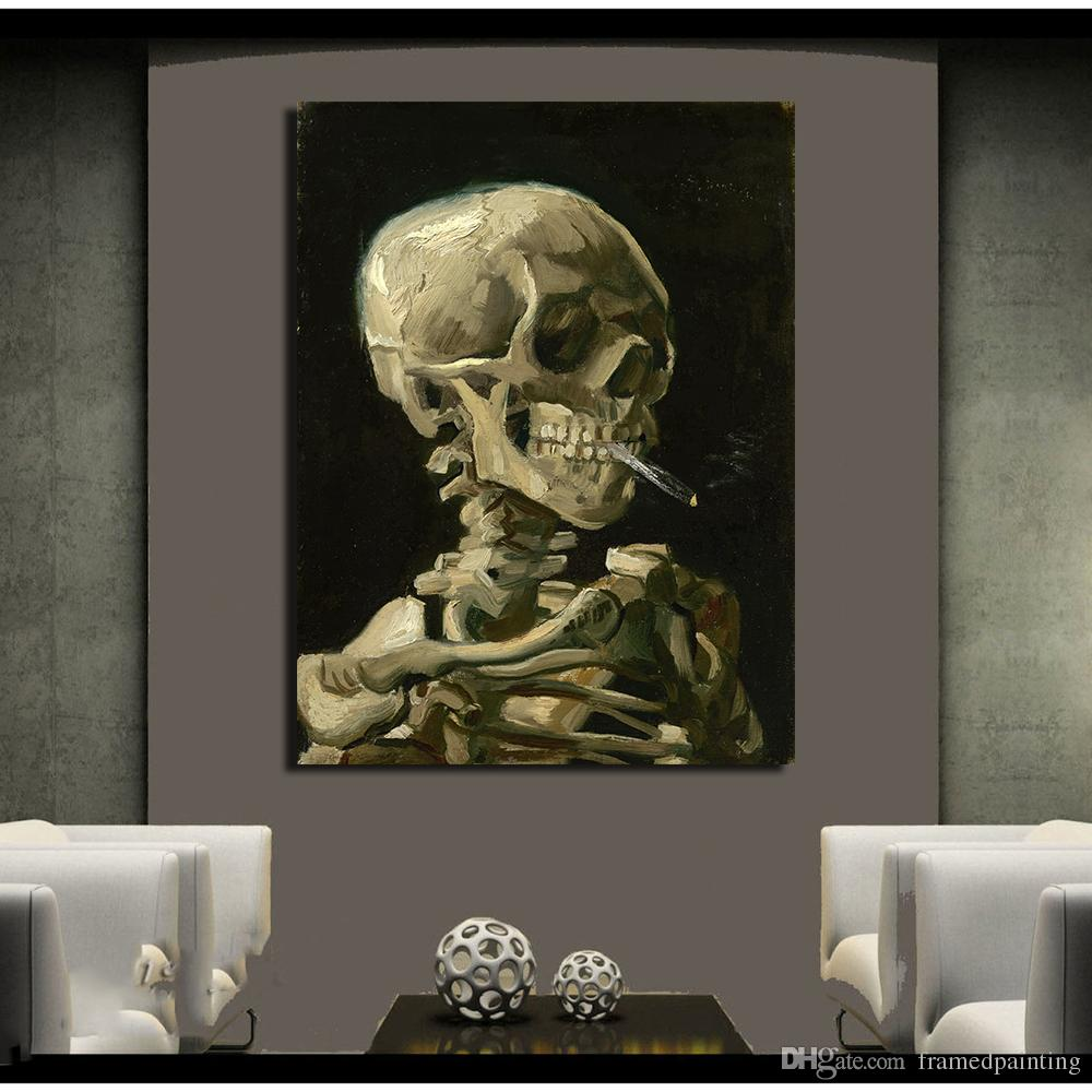 Skull With Burning Cigarette By Vincent Van Gogh Oil Painting Art Print On Canvas, Pictures For Living Room Home Decor No Framed