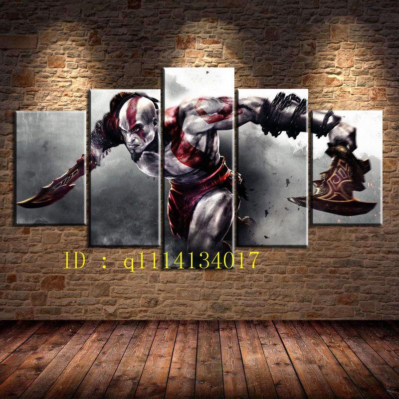 Großhandel Gott Des Krieges 3, 5 Stück Leinwand Wandkunst Ölgemälde ...
