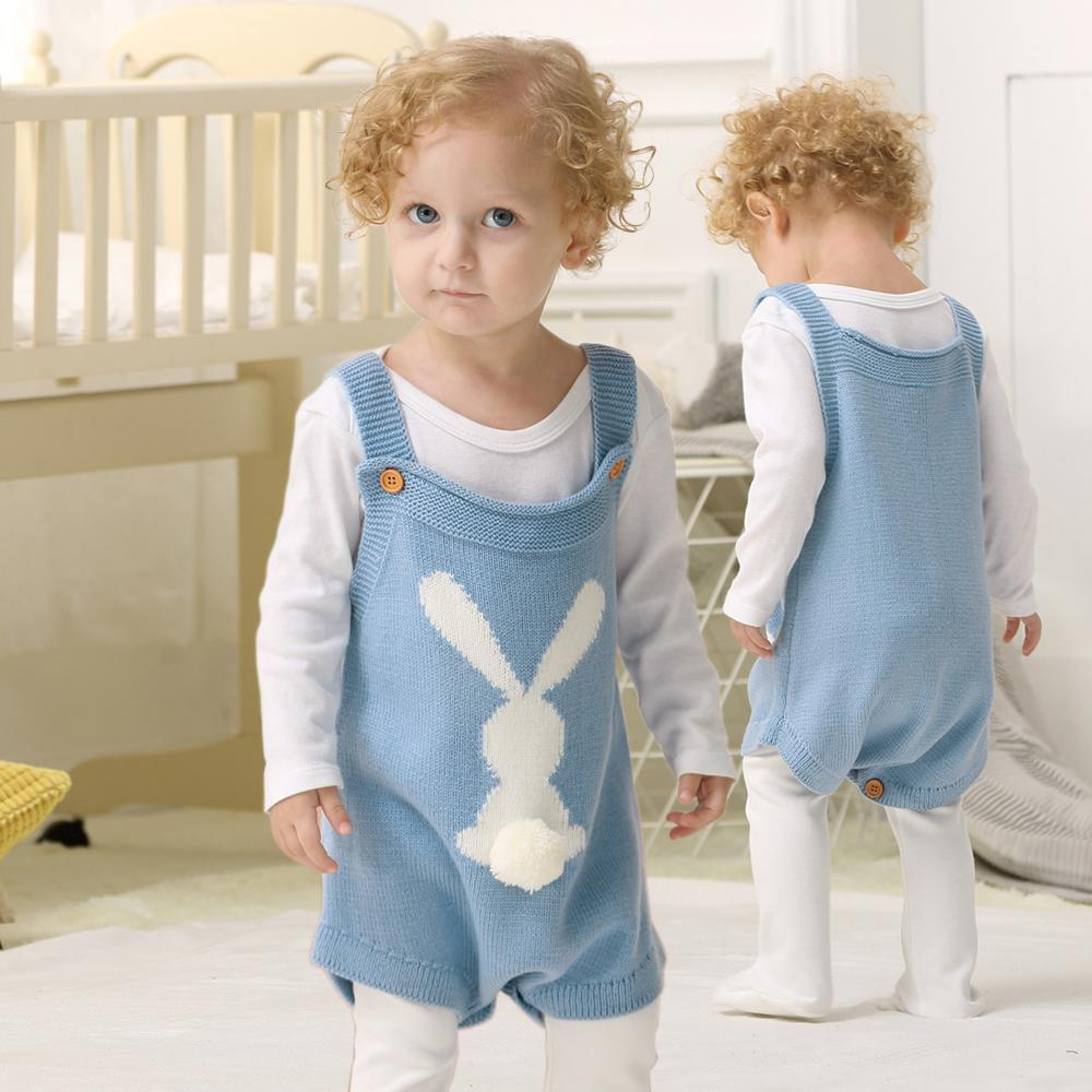 0d80cabc0 2019 Baby Bodysuits 2018 Cute 3D Rabbit Knitted Newborn Girls Coveralls  Autumn Grey Sleeveless Toddler Boys Coveralls Infant Overalls Y18102008  From Gou08, ...