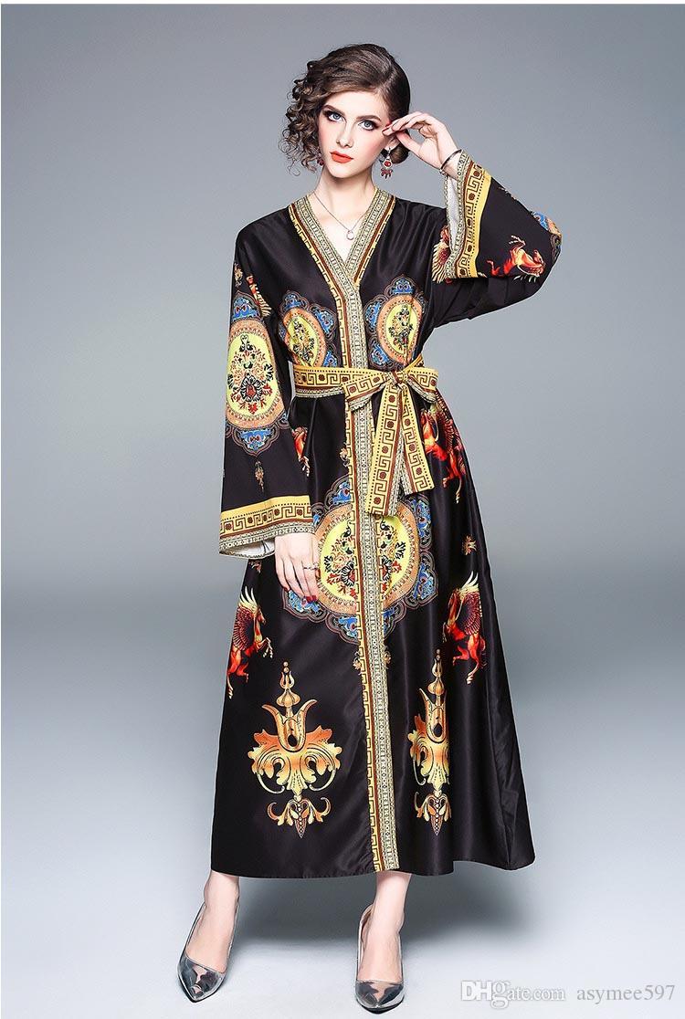 b03f67e350 Compre Vestidos De Impresión De Las Mujeres Atractivas Del Cuello En ...