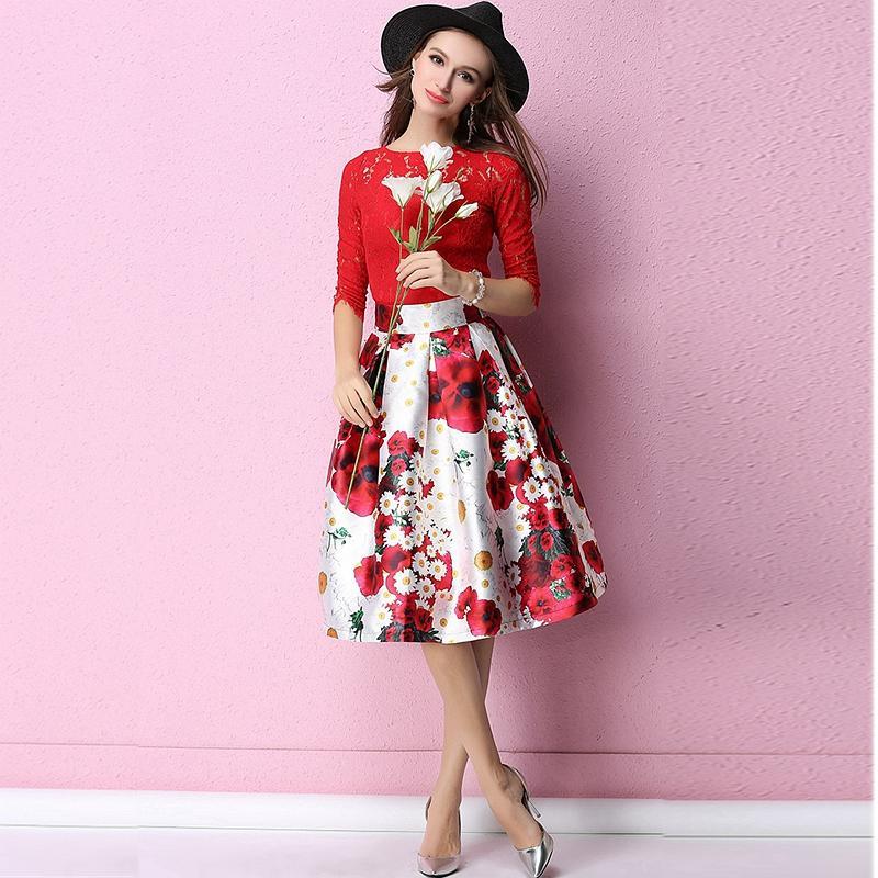 91719418f 2019 JLZXSY Fashion Women Floral Print Midi Skirt Ball Gown Swing Skirts  From Matilian, $31.41   DHgate.Com