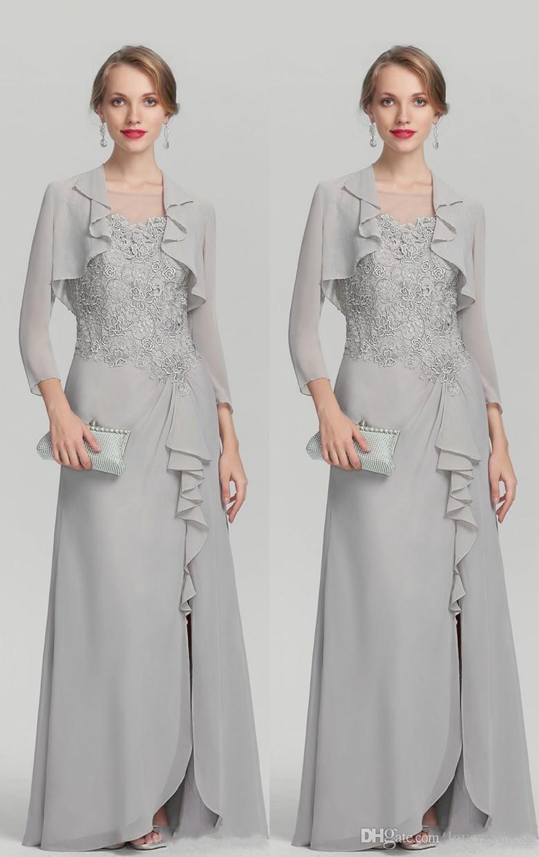 ae0d47a986 Sliver Two Pieces Mother Of The Bride Groom Dresses Plus Size With Jacket  Beads Chiffon Slit Applique Long Evening Formal Gowns Cheap Wedding Mother  Of ...