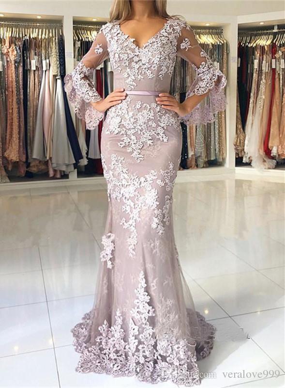 Großhandel Zarte Spitze Langarm Mermaid Abendkleider 2019 Meerjungfrau  Abendkleid V Ausschnitt Muslim Abendkleider Plus Größe Von Veralove999 c7bf65b479b4