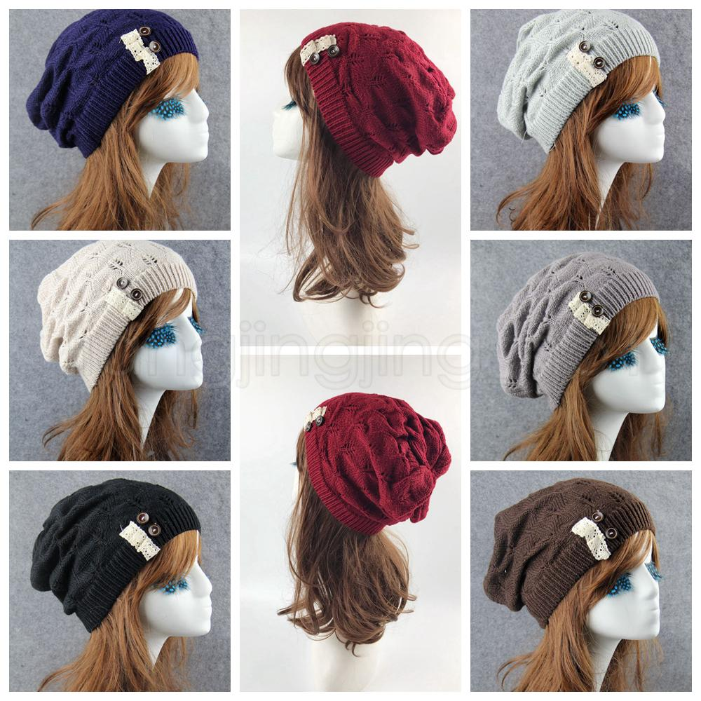 Großhandel 7 Farben Frauen Gestrickte Baggy Beanie Cap Winter Spitze