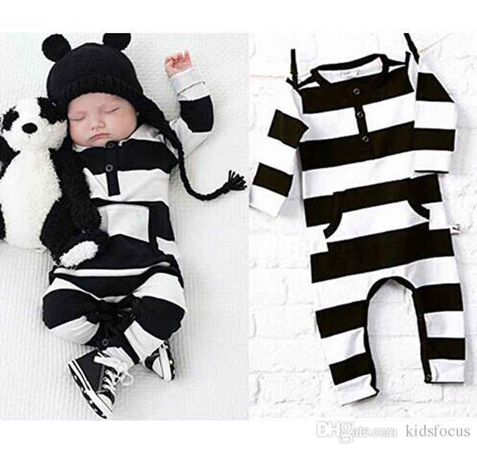 Cute baby boy girls infants clothes rompers outfits newborn bodysuits jumpsuits newborn baby black and white striped romper jumpsuit clothes