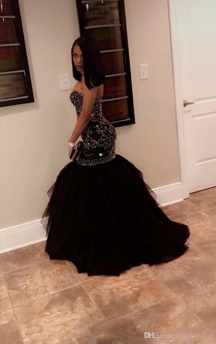 2018 African Girl Black Prom Vestidos Sweetheart oro moldeado Crystal Sweep Train Sirena Formal vestido de fiesta de tul más el desgaste del vestido de noche