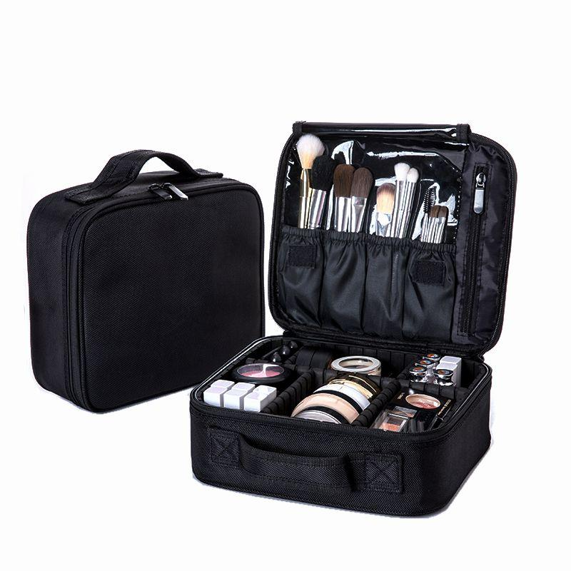 8cd8b588d178 Women Professional Cosmetic Bag Large Waterproof Travel Makeup Bag Trunk  Zipper Make Up Organizer Storage Pouch Toiletry Kit Box