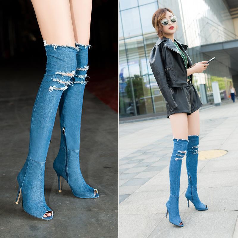 cab99c599bd Compre H 55 Cm Invierno Mujer Moda Botas De Mezclilla Tacones Altos Sobre  La Rodilla Peep Toes N Botas Largas Zapatos De Vestir Tamaño Grande Eu 35  41 A ...