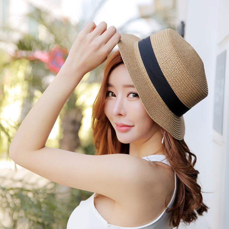 Flat Top Straw Hat Small Pepper Bow Beach Sunscreen Sunshade Foreign ... c55639ad79e