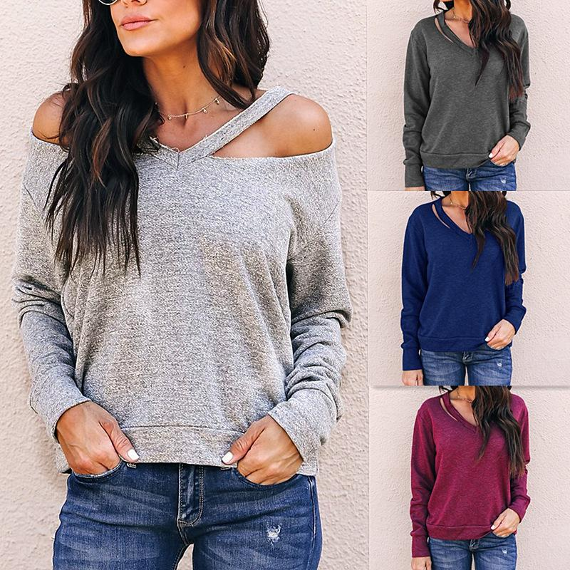 ee6ac72227e Autumn Winter 2019 Casual Women T Shirt Long Sleeve Sexy V Neck Hollow Out  Shirt Solid Loose Women Clothing Fashion Women Tops Top T Shirt Sites Cool T  ...