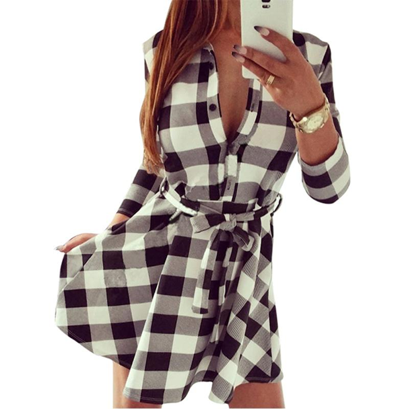fbcf9bfb223 WJ Vintage Women Plaid Check Print Tunic Shirt Dresses Plus Size With Belt  Ladies 3 4 Sleeve Work Office Winter Casual Dress