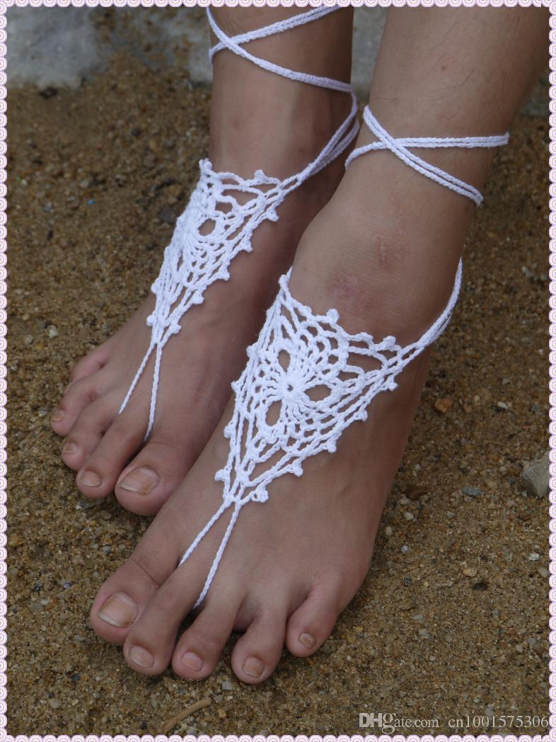 Victorian Lace Tobillera flor Baby Blue Shoes Crochet Barefoot Sandals, Tangas de pie, Zapatos de playa, Accesorio de boda sexy.