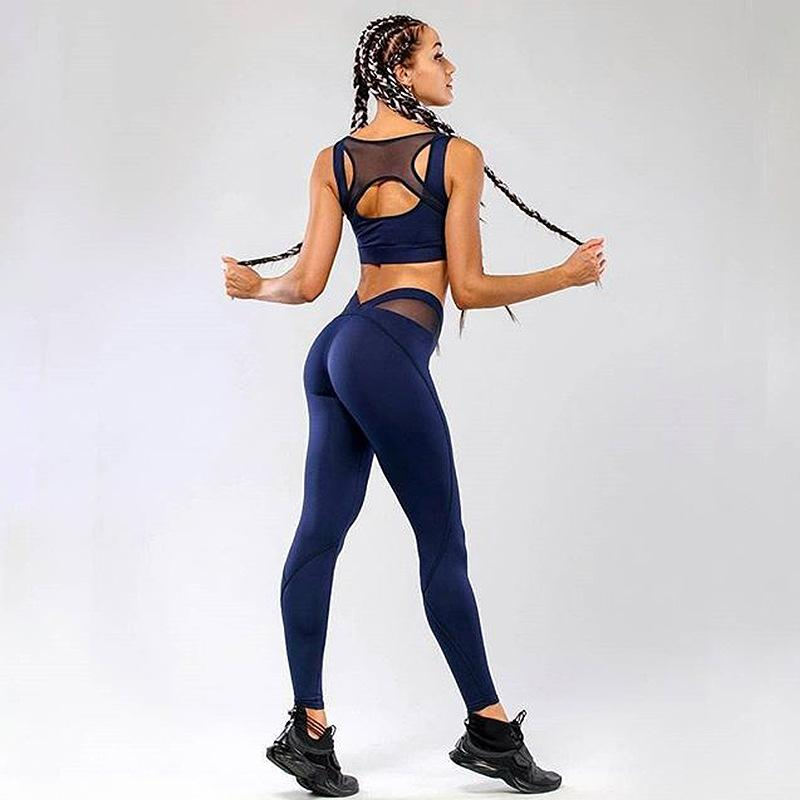 ff3958569dc7b 2019 PENERAN Sports Wear Women Sexy Mesh Workout Clothes Woman Yoga Gym  Jogging Suit 2018 Female Fitness Outfit Tracksuit Blue Black From  Yiquanwater