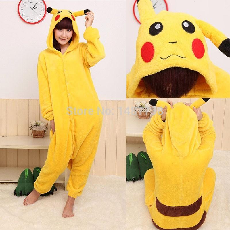 Kigurumi New Winter Sleepsuit Adult Cartoon Yellow Pikachu Onesie Unisex Animal Onesies Costumes Sleepwear Pajamas Cosplay