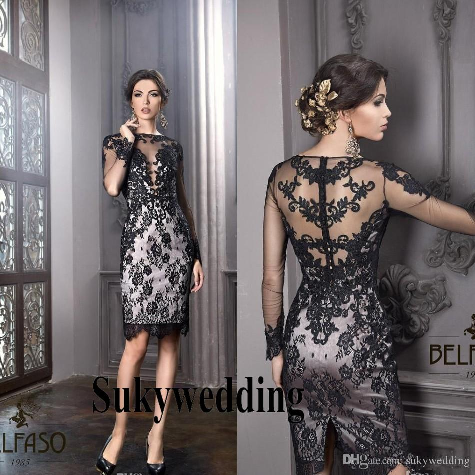 b3c7cd7711d7 Plus Size Mother Of The Bride Groom Dresses New Little Black Dress Bateau  Sheath Formal Dress Knee Length Elegant Sheer Lace Cocktail Gowns Mothers  Dress ...