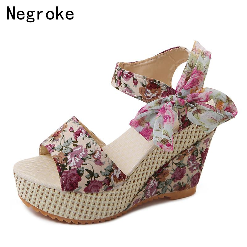 a26ed7525477e8 Summer Platform Shoes Women Wedge Sandals Open Toe Heels Bohemian Floral  Design Ladies Wedding Shoes Woman Sandalias Mujer 2018 Wedge Sneakers Sandal  From ...