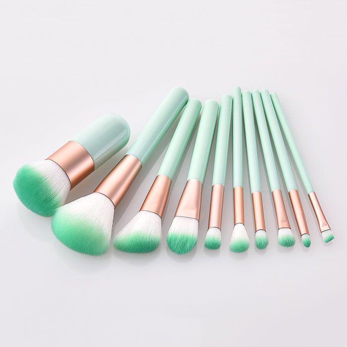 Newest mint green 10pcs set Makeup Brush Powder brush Make Up Brushes free shipping