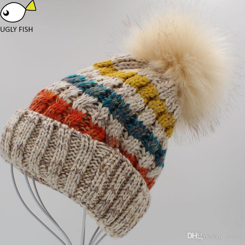 8e21a10256d3 зимняя шапка женская шапочка из искусственного меха помпон шапка вязаная  шапочка ...