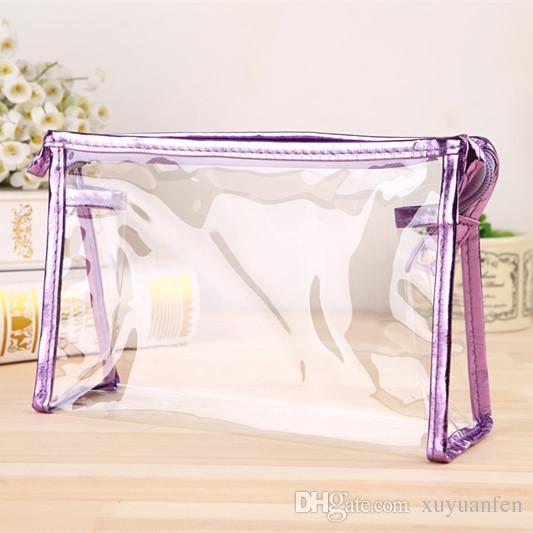 Can Impression Logo protection de l'environnement en PVC transparent cosmétiques Sac Femmes Voyage maquille Sacs de toilette maquillage Organisateur cas