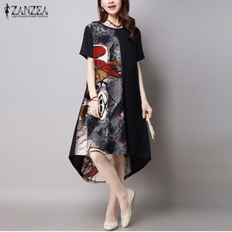 772eb5fbbf54 2018 Summer ZANZEA Women Vintage Print Dress Casual Loose O Neck Short  Sleeve Irregular Hem Mid Calf Dress Vestidos Plus Size Y1890703 Short  Evening Dresses ...