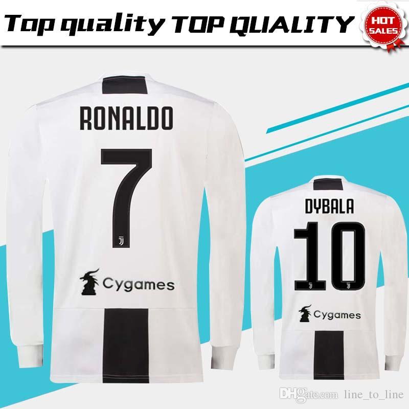 40588ef4c Long Sleeve Juventus Home Soccer Jersey 18 19  7 RONALDO  10 DYBALA ...