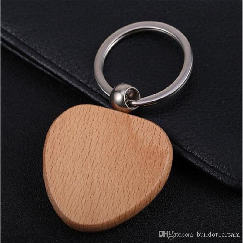 Estilo simple Madera Llaveros Llaveros DIY Madera Redonda Cuadrada Corazón Oval Rectángulo Forma Llavero Colgante Hecho a mano Llavero de regalo