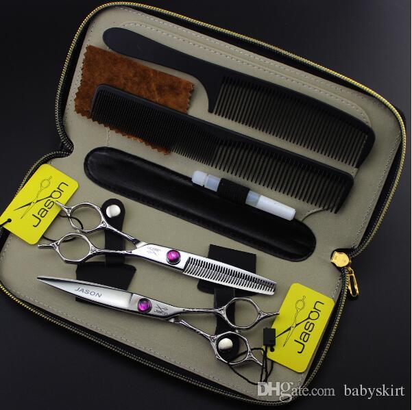 Forbici da parrucchiere da 5,5 pollici forbici piatte assottigliamento forbici set kit strumenti lo styling dei capelli prodotti forbici capelli manico fiore più caldo