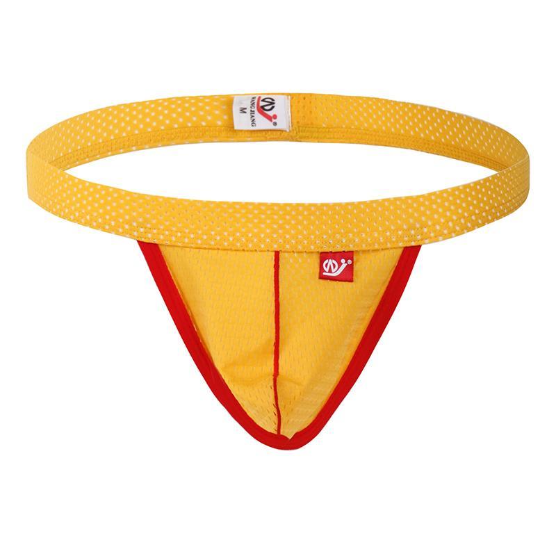 AIIOU Mens Jockstrap Mesh Hole G-Strings & Thongs Sissy Underwear Jock Strap Gay Thong Pouch Penis Mens G String Underwear Pants