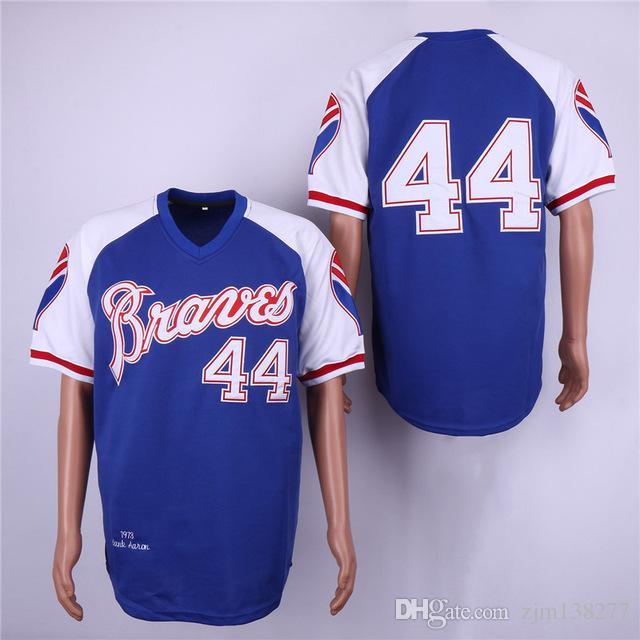 best service ab902 10a2e Men s Atlanta Braves 44 Hank Aaron Dale Murphy Chipper Jones Jersey