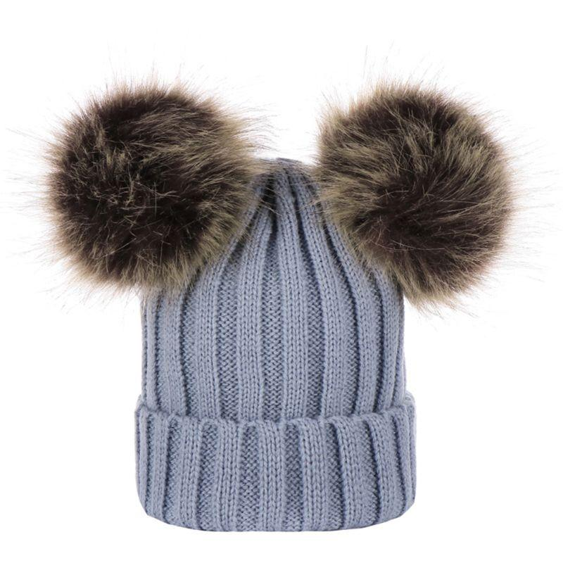 08ac210bc7d Winter Thickened Ribbed Faux Fox Fur Knitted Hat With Double Fluffy ...