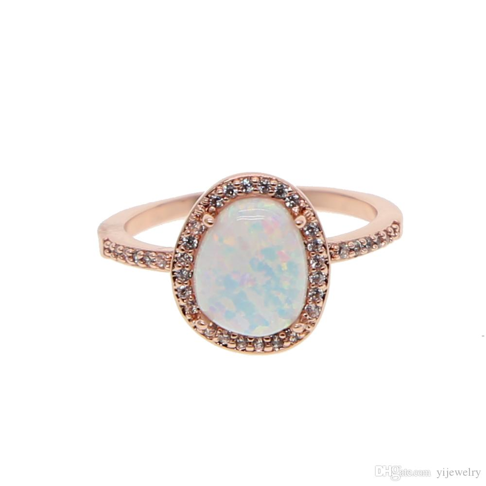 7bbff4e45297e3 2019 Rose Gold Plated Gemstone Opal Ring 2018 New Arrived Fashion ...