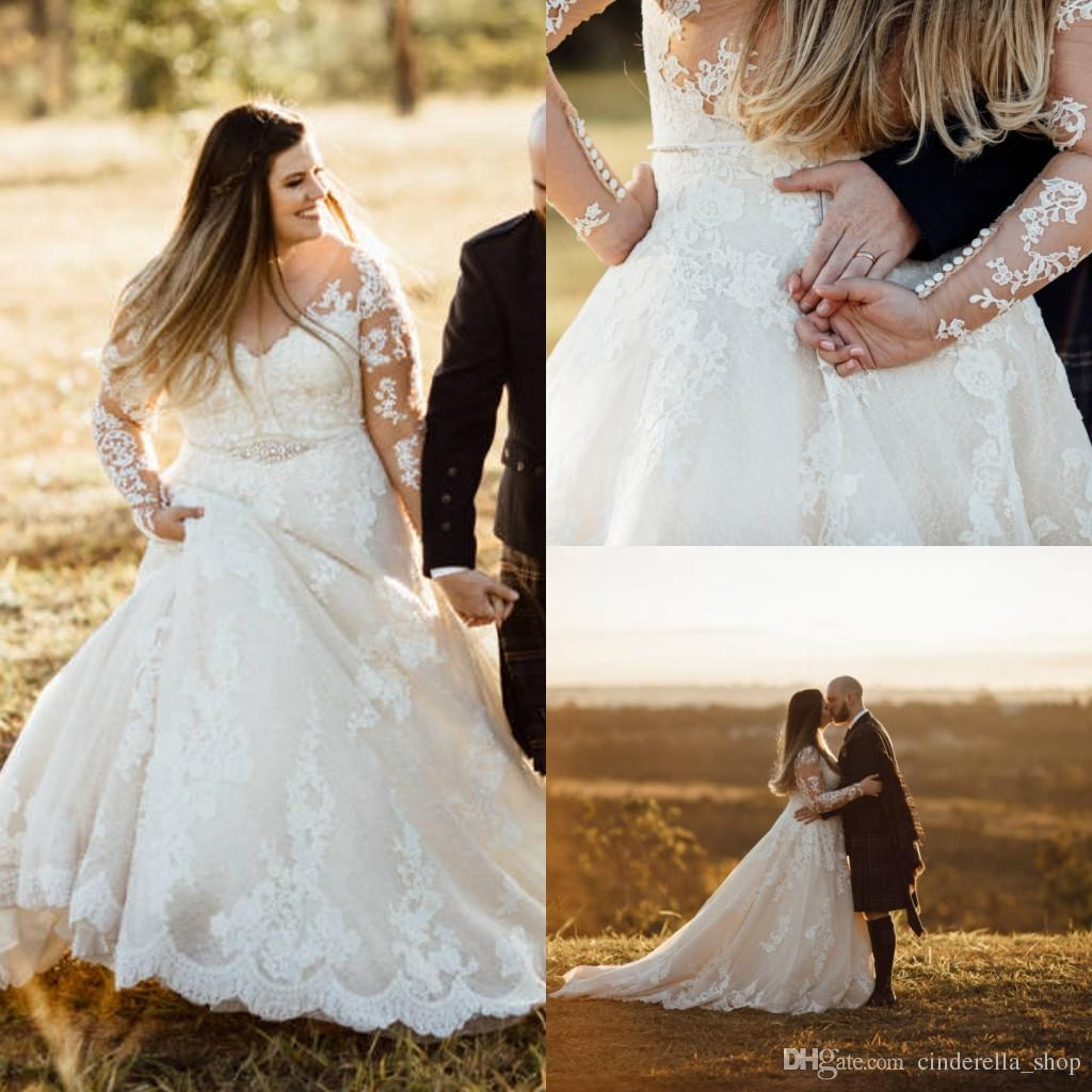 2018 Plus Size Wedding Dresses Full Lace V Neck Illusion Bodice Crystal Sash Long Sleeves Sweep Train Long Bridal Gowns Customized Cheap