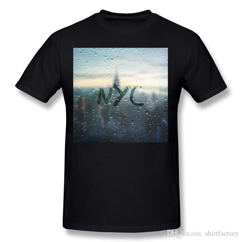 Drop Shipping Hommes Coton Tissu Jour De Pluie à NYC Tee Shirts Hommes Col Rond Pourpre À Manches Courtes Chemises S-6XL Loisirs Tee Shirts