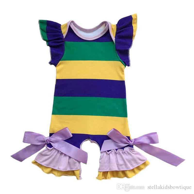 Grün Saint Patrick Baby Mädchen Bodysuit vier Blatt Klee Rüschen Ärmel Baby Mädchen Schlafanzug kleine Mädchen Boutique Kleidung
