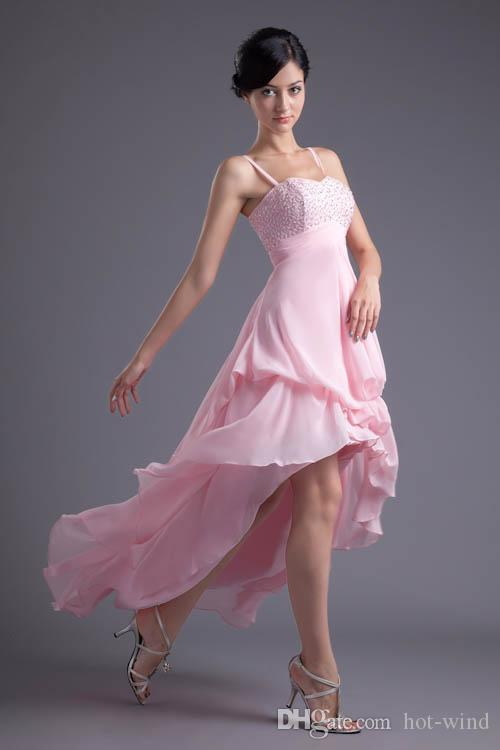 Pink Hi-Lo Beads Short Prom Dresses Long Bridesmaid Dresses Chiffon Spaghetti Pleats Formal Maid of Honor Dresses Wedding Guest Gowns ZPT025