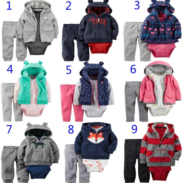 e1b60b5e2 New Baby Girls Clothes 100% Cotton Hooded Coat + Pants + Romper ...