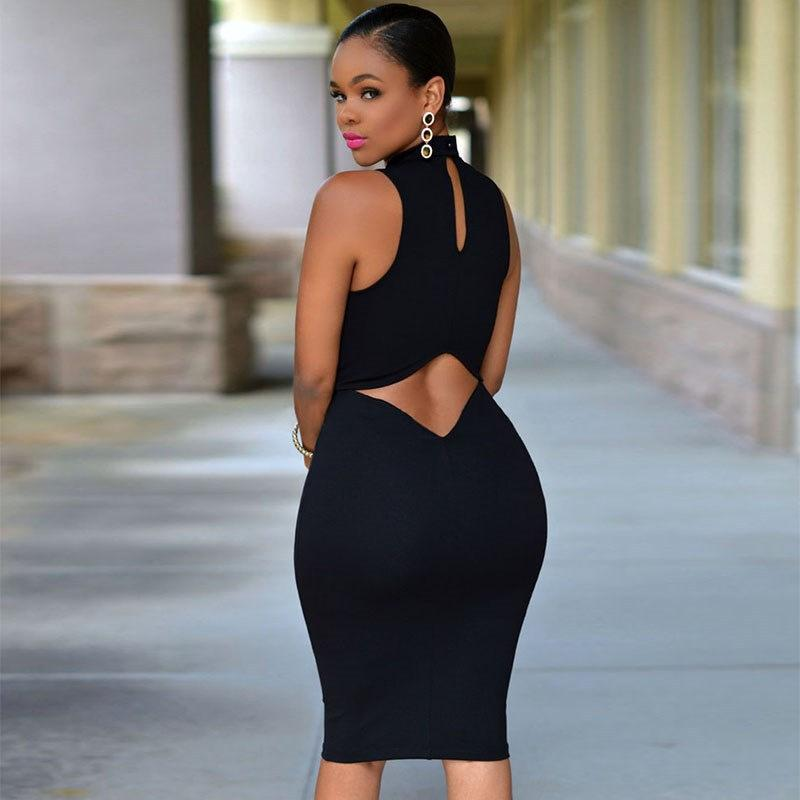 d53adca1905 2018 Hollow Out Dress Elegant Womens Mini Dress Sexy Halter Neck Sleeveless  Alluring Back Nightclub Black Lace Bodycon Dresses From Fashionsb