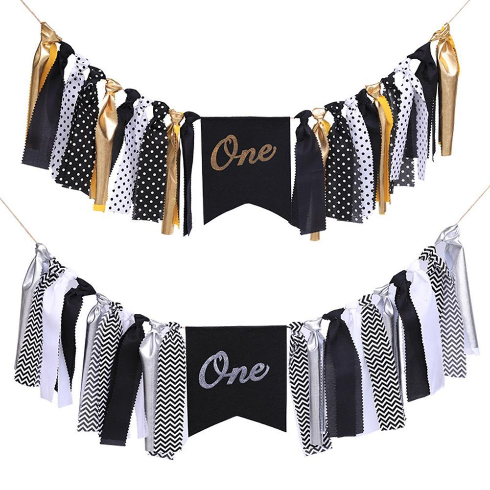 Black Gold Silver Boy 1st Birthday Party Garland Bunting Inspired Highchair Banner Baby Shower Decorations Nursery Hanging Online With 1983 Piece On