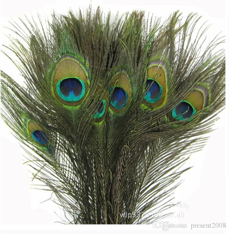 Elegantes materiales decorativos Real Natural Peacock Feather Hermosas Plumas de 25 a 30 cm de envío gratis