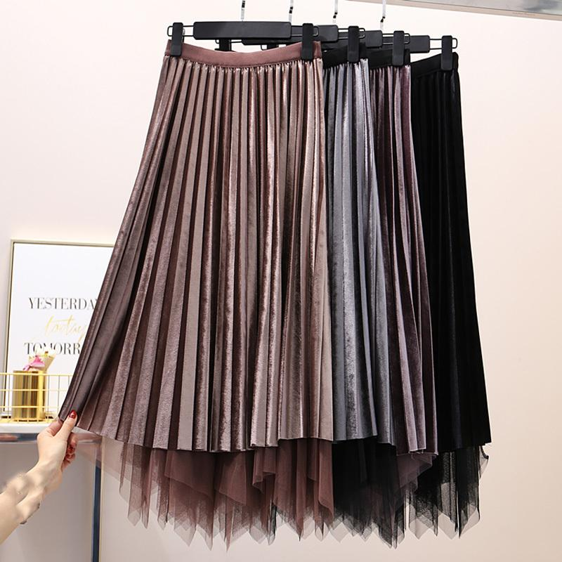 67af86786432 Reversible terciopelo tul faldas largas otoño invierno mujer 2018 nueva  moda de color sólido falda plisada mujer elegante midi faldas C18111301