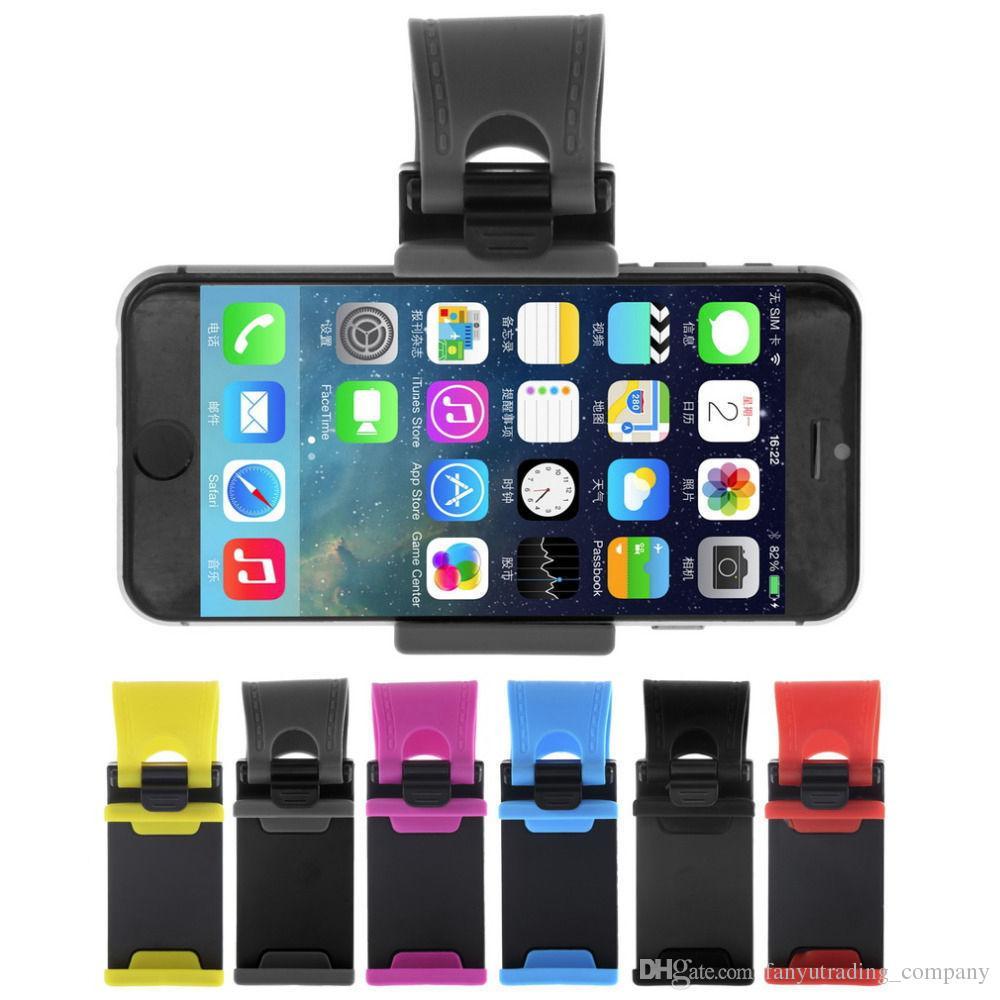 Prise de volant de voiture 2018 support de téléphone universel de téléphone cellulaire Clip Mount support de voiture pour 50-80mm iPhone Samsung DHL Livraison gratuite