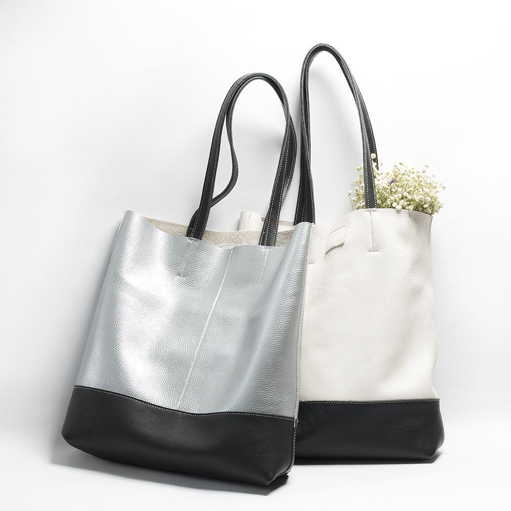 2d2445c8c4b10 Großhandel Echtes Leder Große Kapazität Umhängetaschen Frauen Handtasche  Weibliche Hohe Qualität 100% Echtes Leder Einkaufstasche Mode Kontrast  Weich Von ...