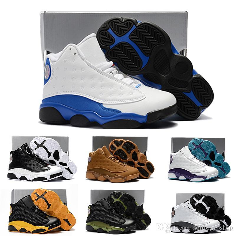 pretty nice f62b4 2449e Acheter Nike Air Jordan 13 Retro Ligne 13 Enfants De Basket Ball Chaussures  Enfants 13s De Haute Qualité Sports Chaussures Jeunesse Garçon Fille De  Basket ...