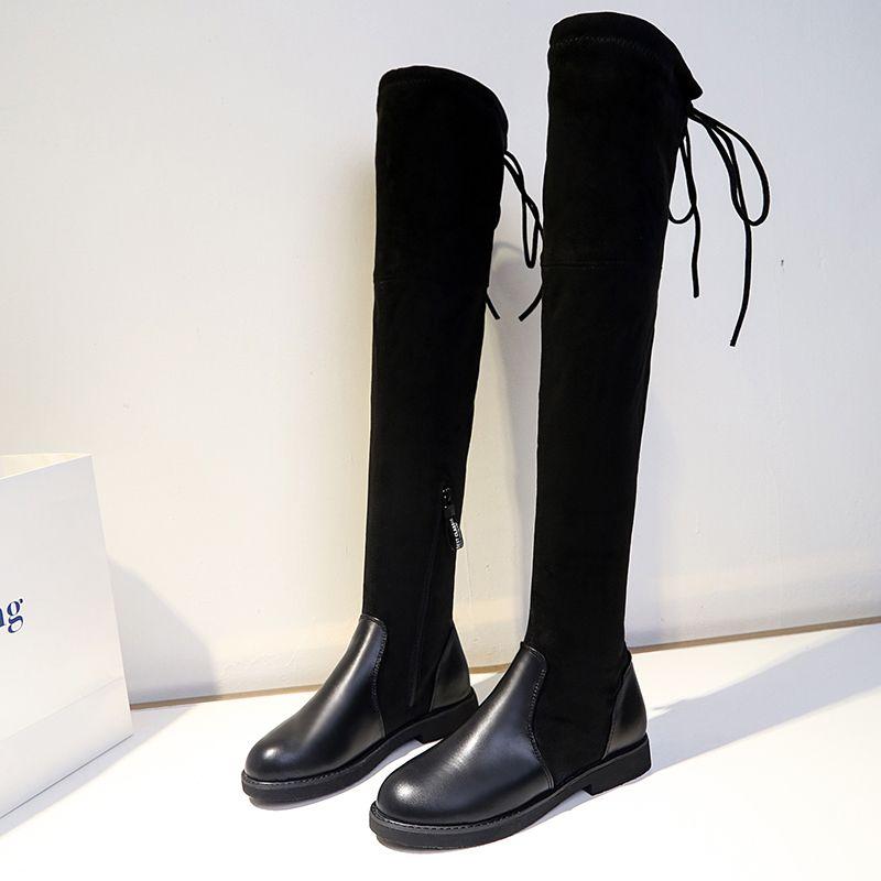 03597f27ccb Compre Bowtie Botas Largas Zapatos Mujer Muslo Botas Altas Sobre La Rodilla  Elástico Delgado Otoño Invierno Botas Feminina Raid Bootiesy820 A  47.14  Del ...
