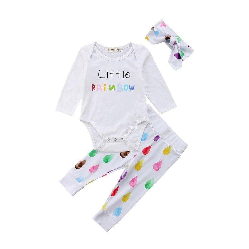 ce24dc6c20bcb 2018 Latest Children s Wear Newborn Toddler Infant Cotton Rainbow Baby  Girls Romper Jumpsuit Long Pants Leggings Outfits 0-24M