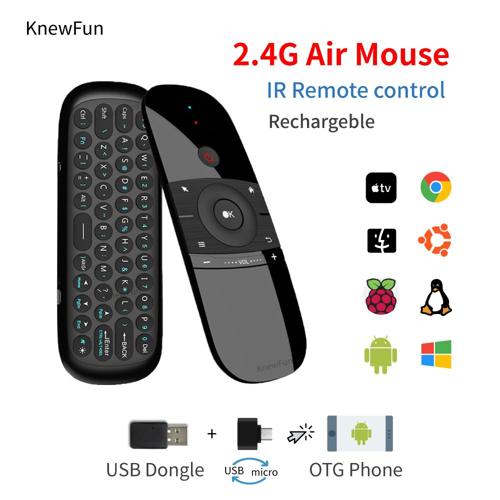 Knewfun Keyboard Mouse Wireless 2 4G Fly Air Mouse Rechargeable Remote  Control For Smart PC/TV BOX Android Windows Mac OS Linux