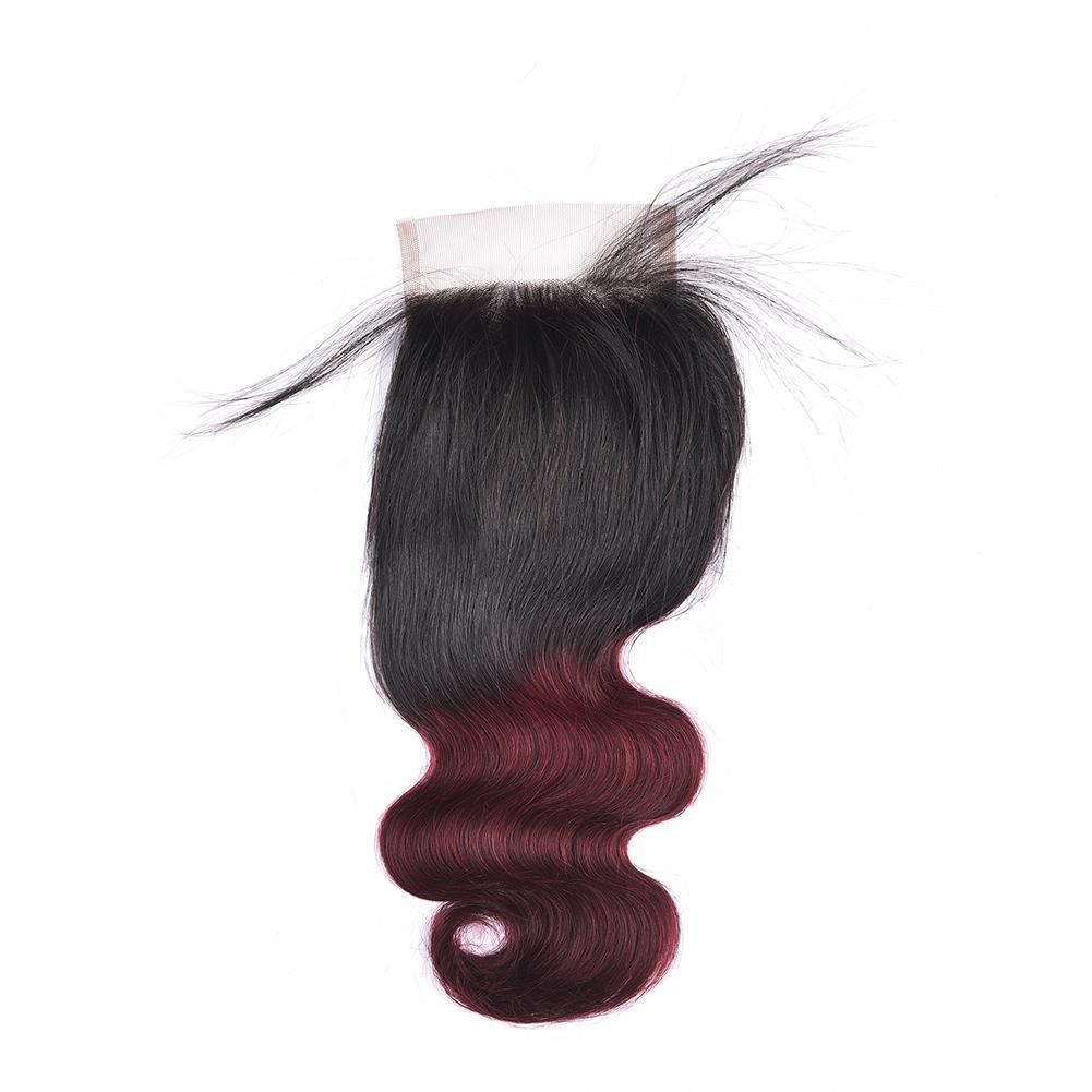 Fasci di capelli umani Ombre peruviana dell'onda del corpo con chiusura 1b 99j Capelli vergini di peruviana vergini rossi 3 chiusura con chiusura di pizzo 4x4 Borgogna